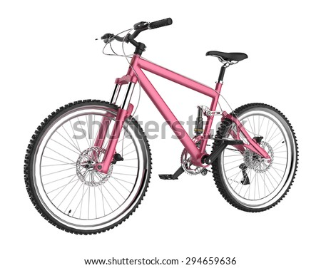 Bicycle isolated on white background 3D rendering