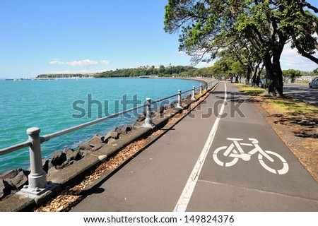 Bicycle lane along the harbour in Auckland area, New Zealand - stock photo