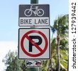 Bicycle lane and No parking sign in Hawaii - stock photo