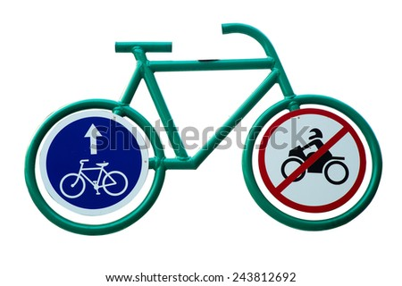 Bicycle lane sign indicating bike route - stock photo