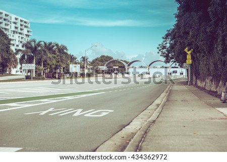 Bicycle lane signage on street for special bicycle road on Rickenbacker causeway for Key Biscayne. Near the ocean and Virginia Key. Miami. Florida. USA.  Miami neighborhood. - stock photo