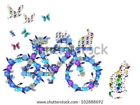 bicycle made of so many spring flowers - stock photo