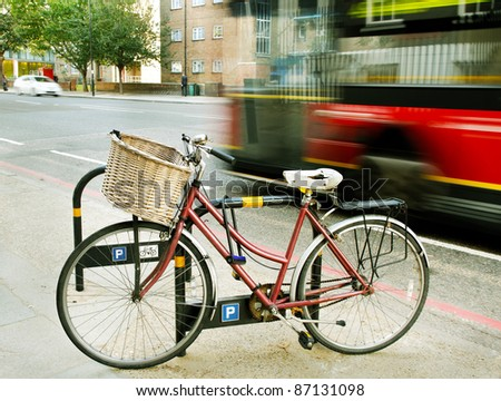 Bicycle on a sidewalk of the London street. - stock photo