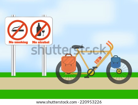 Bicycle on road. Bicycle tourism sport. Icons of traveling, planning a summer vacation, tourism and journey objects. Raster version - stock photo