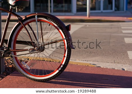 Bicycle Parked on Street - stock photo