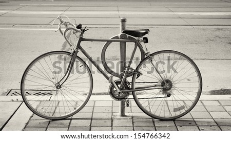 Bicycle parked on the street in Toronto