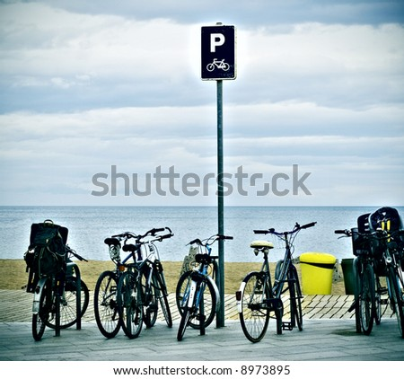bicycle parking in front of the beach in Barcelona.