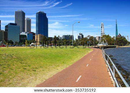 Bicycle path in Perth, Australia. Swan River bank.