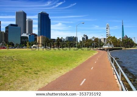 Bicycle path in Perth, Australia. Swan River bank. - stock photo