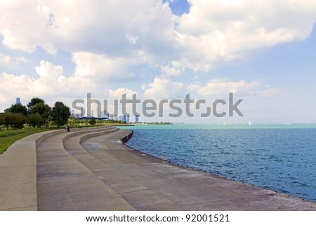 bicycle path with downtown chicago in background - stock photo