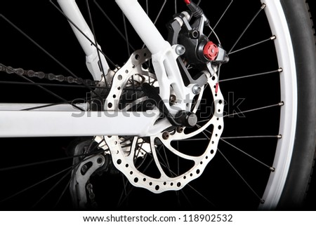 Bicycle rear disc brake - stock photo