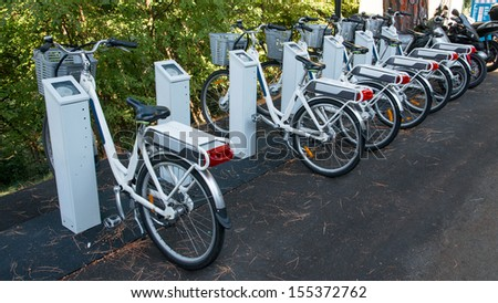 bicycle rental service subscription as an alternative to mobility - stock photo