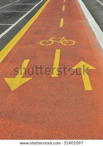 Bicycle reserved path road - stock photo