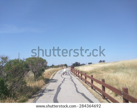 Bicycle ride to Shoreline Lake Park and back. - stock photo
