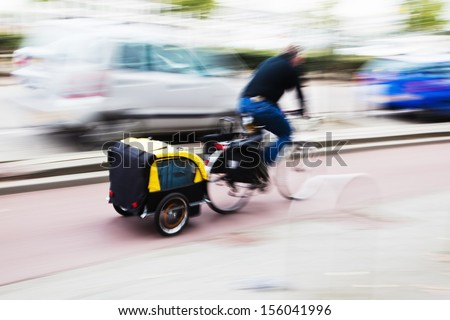 bicycle rider with a bicycle  - stock photo