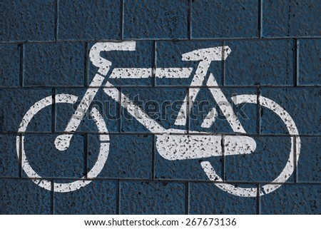 Bicycle road sign from the top - stock photo
