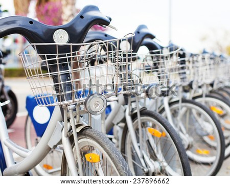 bicycle row at street - stock photo