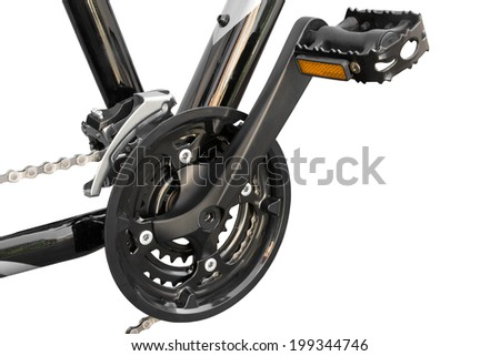 bicycle's pedal on a white background isolated - stock photo