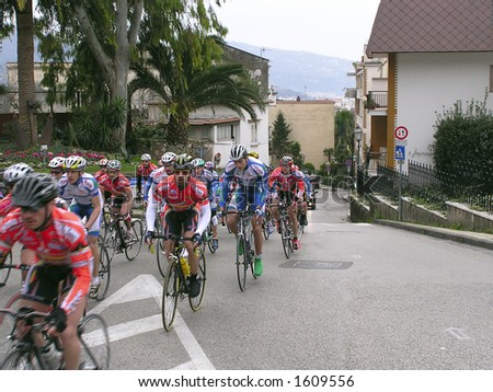 Bicycle's rally in Sorrento street, Italy. - stock photo