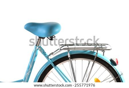 Bicycle seat, isolated on white background. - stock photo