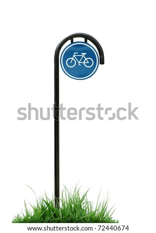 bicycle sign and green grass isolated - stock photo