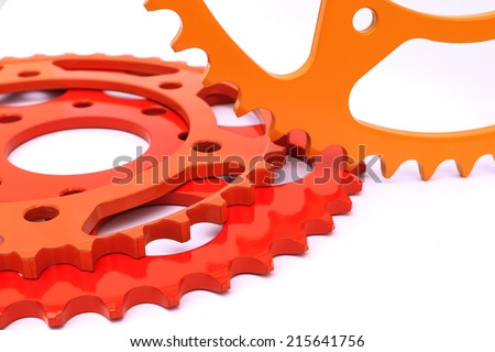 Bicycle sprocket coated with coating powder isolated on white. - stock photo