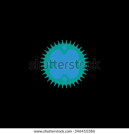 Bicycle sprocket. Colorful symbol on black background - stock photo