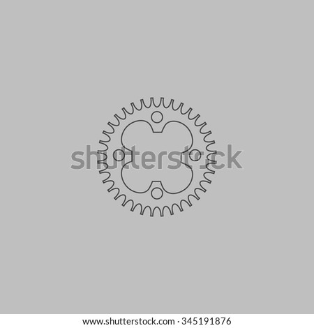 Bicycle sprocket. Flat outline icon on grey background - stock photo