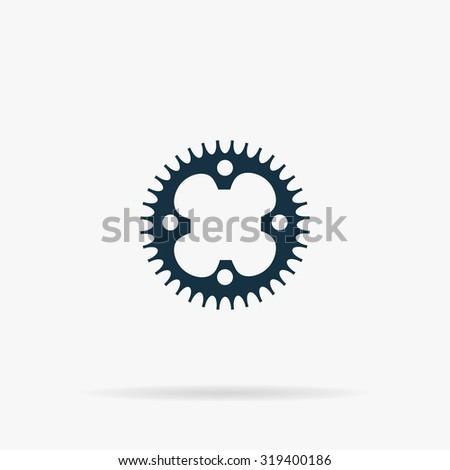 Bicycle sprocket. Flat web icon or sign on grey background with shadow. Collection modern trend concept design style illustration symbol - stock photo