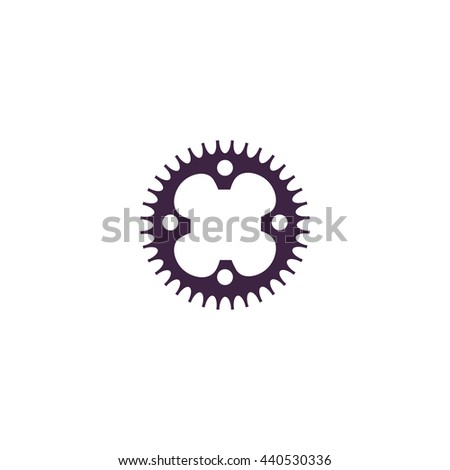 Bicycle sprocket. Simple blue icon on white background - stock photo