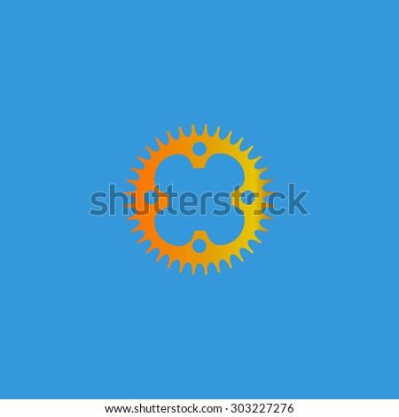 Bicycle sprocket. Simple flat icon on blue background - stock photo