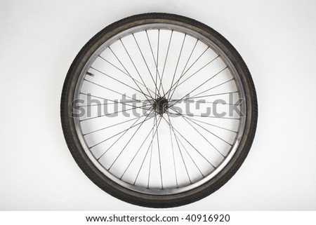 bicycle  tire on white - stock photo