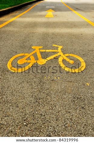 Bicycle track in Lumpini Garden Bangkok - stock photo