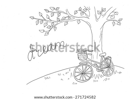 Bicycle under the tree line illustration - stock photo