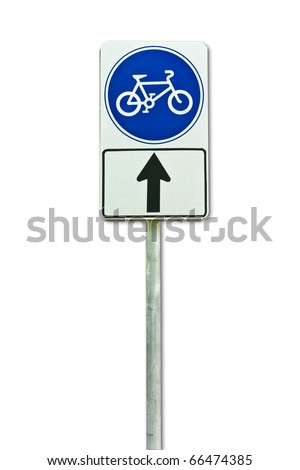bicycle way sign isolated on white background