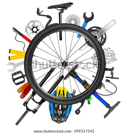 bicycle wheel concept with various bike parts isolated on white background - stock photo