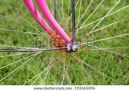 Bicycle wheel hub , Part of cycling wheel - stock photo