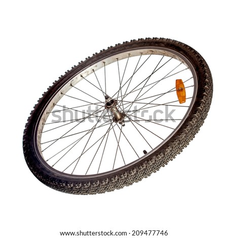 Bicycle wheel isolated over white - stock photo