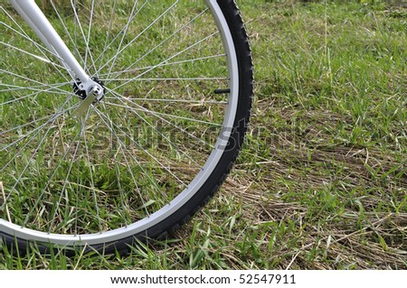 Bicycle wheel on a grass