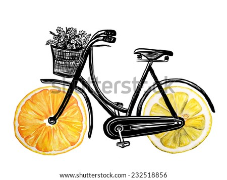 bicycle with hand drawn watercolor citrus wheel - stock photo