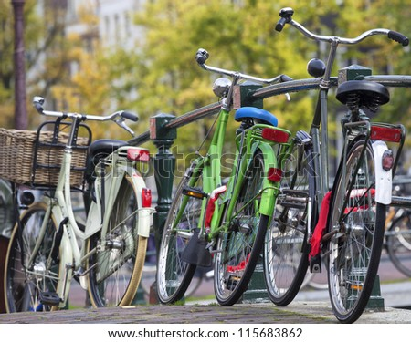 Bicycles in Amsterdam, Netherlands - stock photo