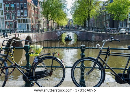 Bicycles on a Bridge, Amsterdam, The Netherlands