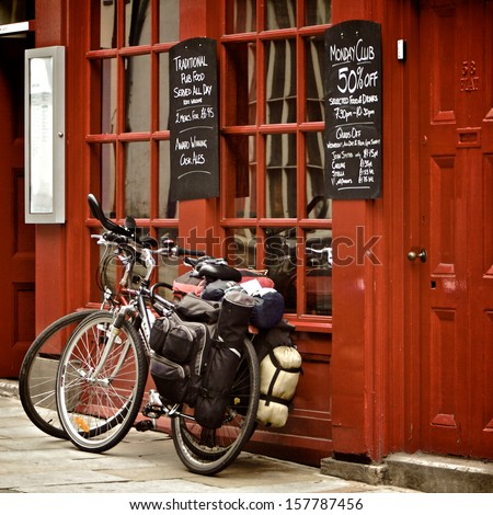 Bicycles on the British pub, Durham, United Kingdom - stock photo