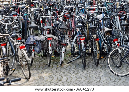 Bicycles Parked in Maastricht, Netherlands - stock photo