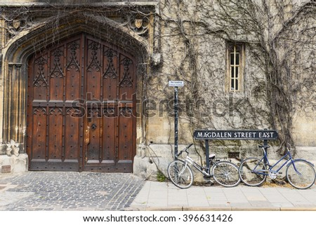 Bicycles parking in front of old building