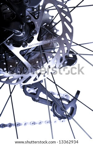 Bicycles Rear Wheel System with Brake Rotor in Focus - stock photo
