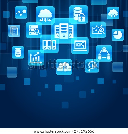 Bid Data concept - blue buttons with Big Data Science icon - stock photo