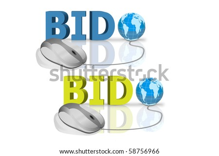 bid in red and blue letters connected with mouse - stock photo