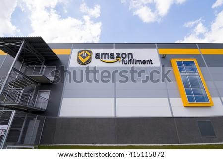 BIELANY, POLAND - MAY 04, 2016: The newly opened warehouse of retailer amazon.com. on 04 may, 2016 in Bielany near Wroclaw, Poland. - stock photo