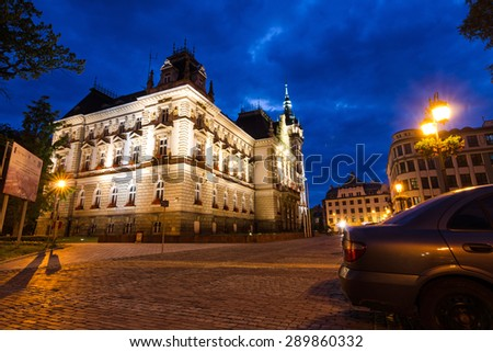 BIELSKO-BIALA, POLAND - JUNE 16: Rear view of the Neo-Renaissance town hall in night scenery; June 16, 2015 in Bielsko-Biala, Poland. - stock photo